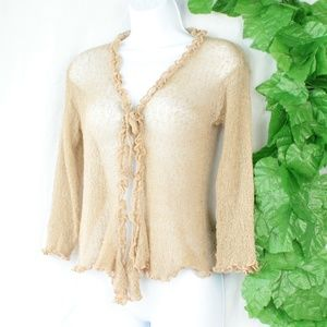 Sweaters - Vintage Unique Shear Cardigan/Top Ruffles Tan Smal